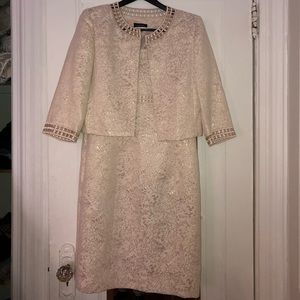 Tahari Women's Dress & Jacket with Sparkly Pattern
